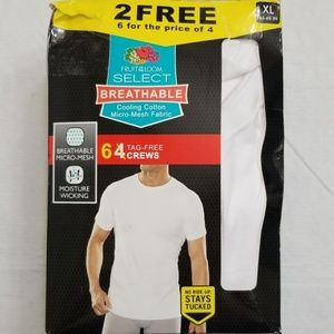 Fruit of the Loom Select Breathable 6 pk Crew XL